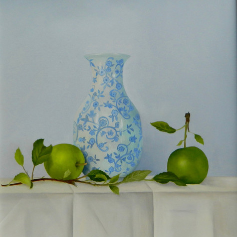 Blue Vase and Apples