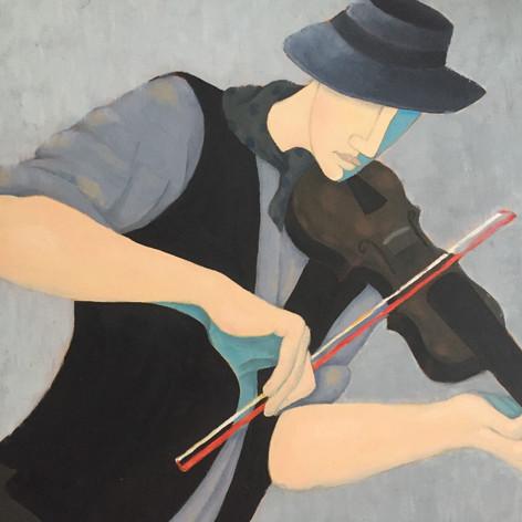 Fiddler in Blue Hat & Waistcoat