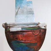 Driftwood Boat Sculptures by Damian Tremlett