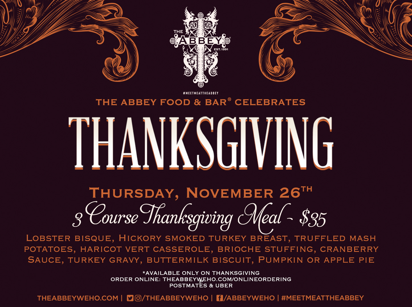 The Abbey Weho Thanksgiving Meal _MENU 2