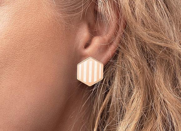 Hexagon Stud Stripe earrings