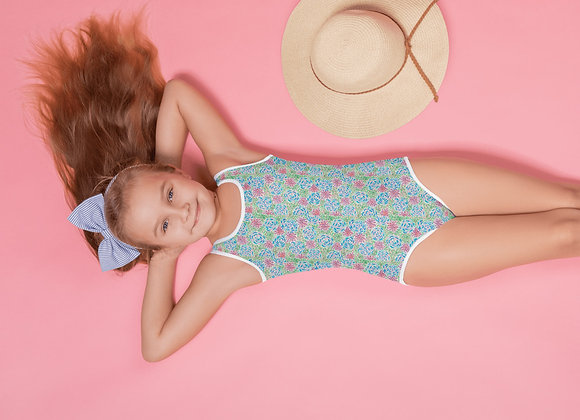 All-Over Print Kids Swimsuit in Peonies & Posies