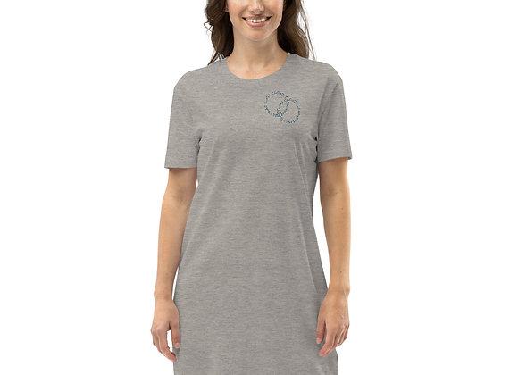 Organic cotton t-shirt dress with 'on cloud9' 2 circles logo