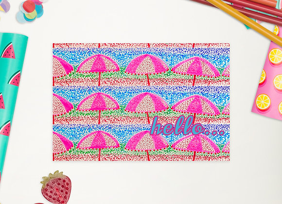 """Standard Postcard in Dotted Parasols """"hello..."""""""