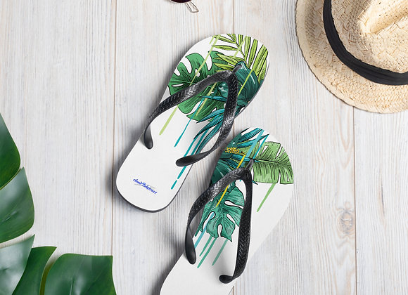 Flip-Flops in Green Flower drip print