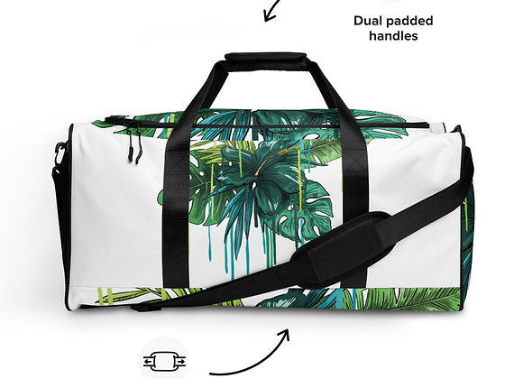Duffle bag in Green Flower Drip all over print