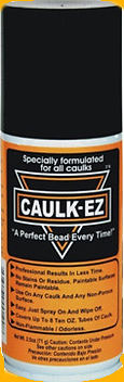 Can of CAULK-EZ. A caulk tooling aid perfect for 100% silicone caulk. Use in kitchen, bathtubs, bathrooms, tile, trim, countertops, toilets, windows, interior, and exterior. Safe for all surfaces.