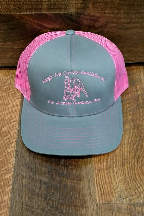 Hat: Gray/Pink with Pink Logo