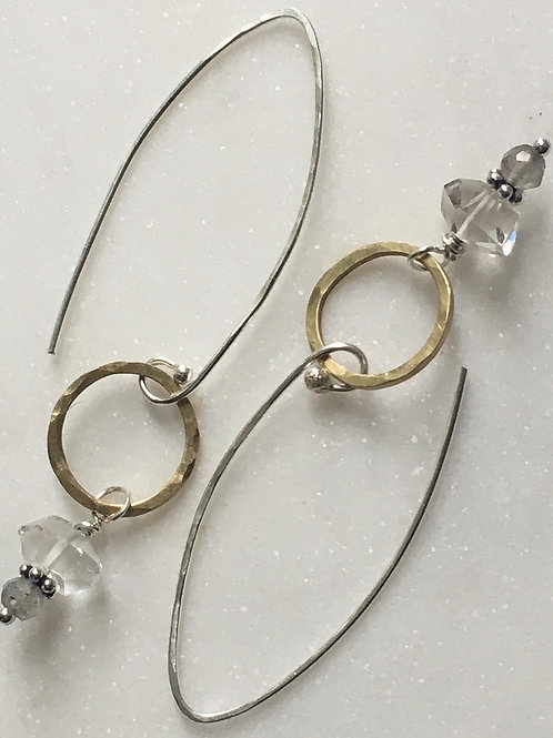 Herkimer Diamond & Brass Earrings