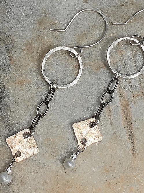Bronze & Fresh Water Pearl Earrings