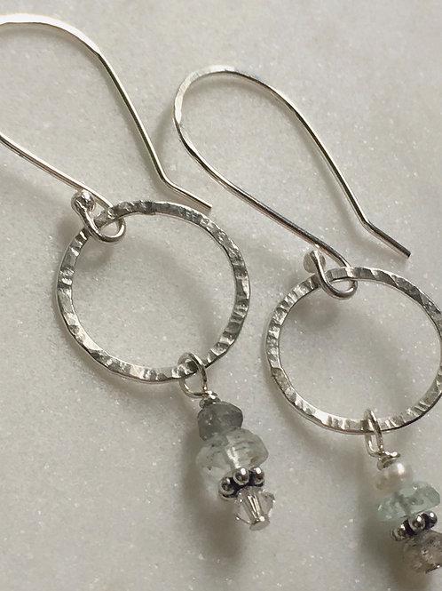 Faceted Aqua Marine Drop Earrings