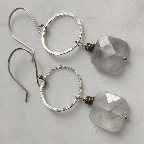 Faceted Mist Quartz Earrings
