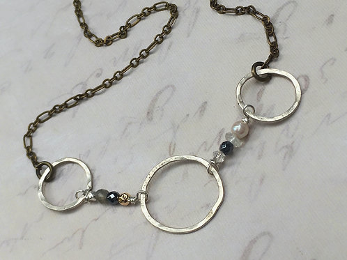 Triple Sterling Silver Loop & Beaded Link Necklace