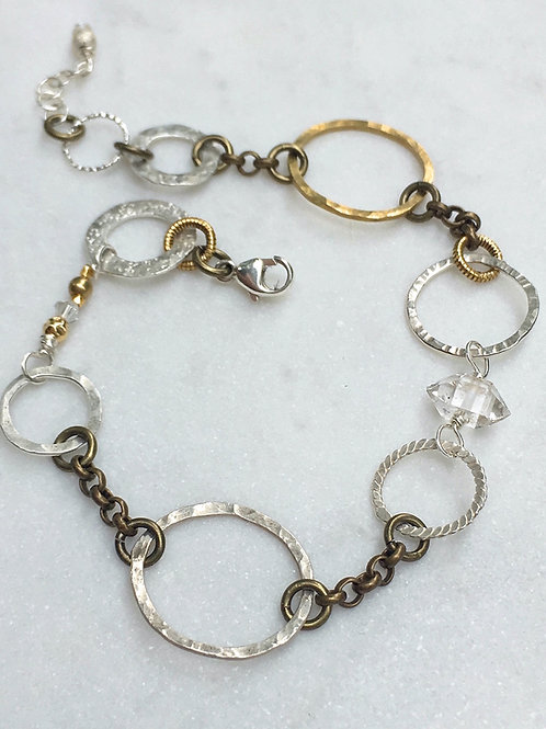 Herkimer Diamond Sterling Silver Link Bracelet