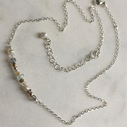 Delicate Aqua Marine & Gold Bar Necklace