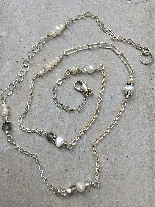 Fresh Water Pearl & Sterling Silver Necklace