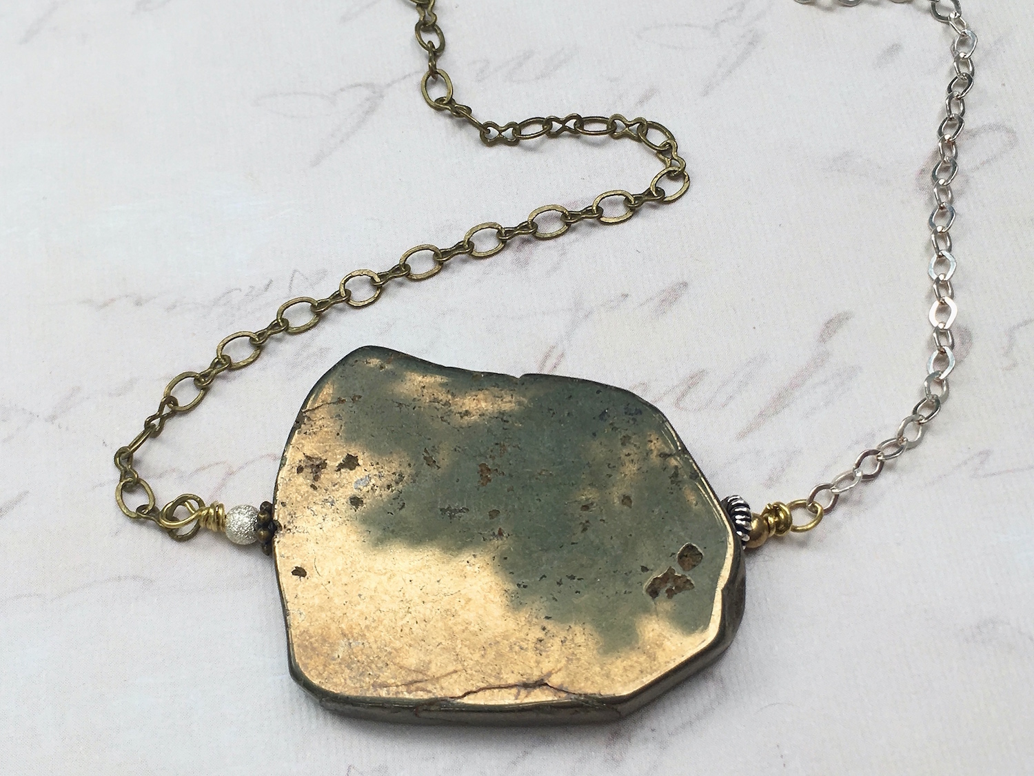 Asymmetrical Pyrite Slice Necklace