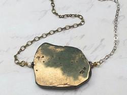Asymmetrical Pyrite Slice Necklace