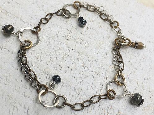 Sterling Silver Loop & Beaded Drop Bracelet
