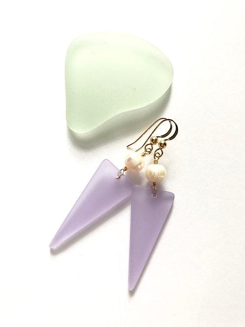Lavender Seaglass Shield Dangles
