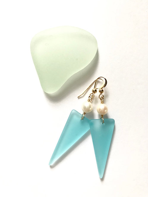 Sky Blue Seaglass Shield Dangles