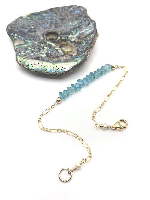 Aqua Apatite Half Moon Bracelet
