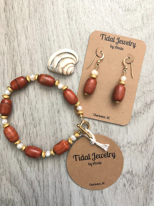 Red Marble Necklace & Earring Set