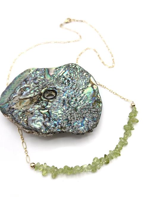 Peridot Half Moon Necklace