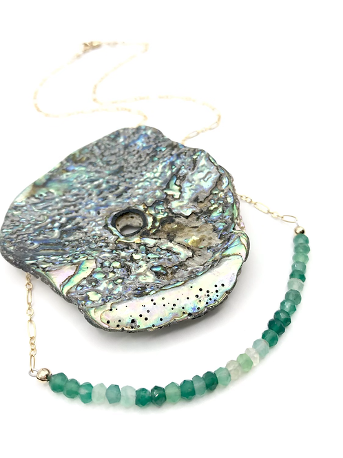 Green Onyx Half Moon Necklace