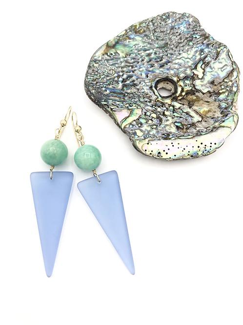 Small Periwinkle Monochrome Seaglass Dangles