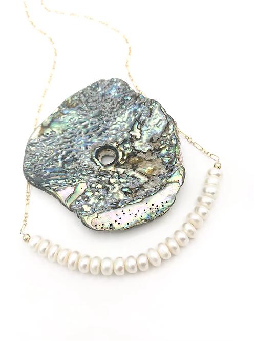 Pearl Disc Half Moon Necklace