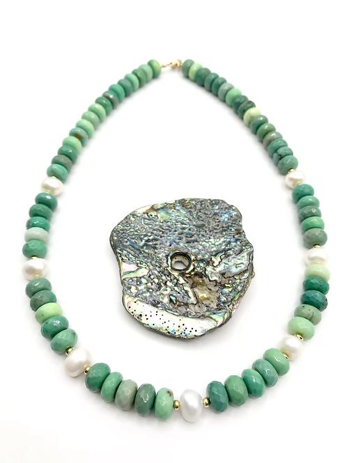Chrysoprase Sand Dollar Necklace