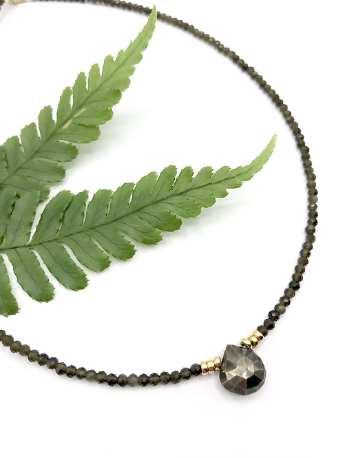 Olive Pyrite Necklace