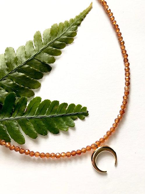 Hessonite Crescent Necklace