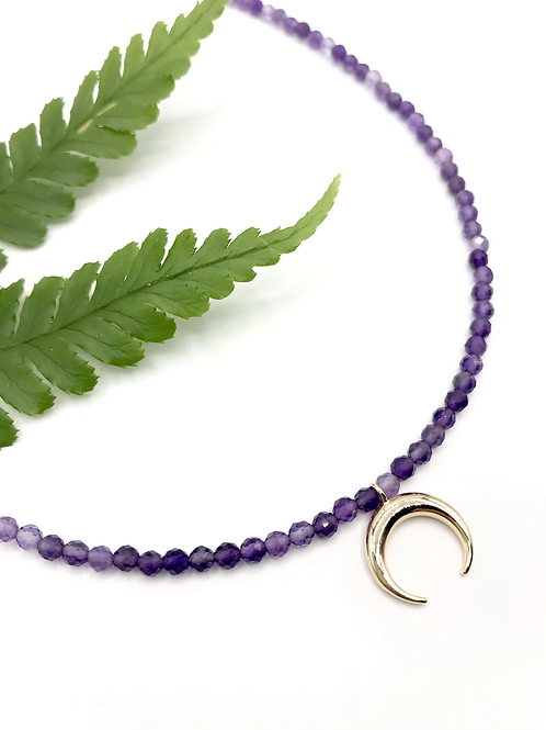 Amethyst Crescent Necklace
