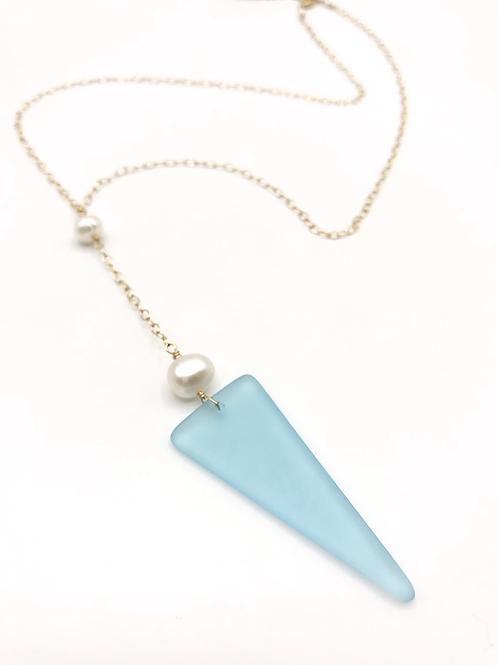 Sky Blue Seaglass Lariat
