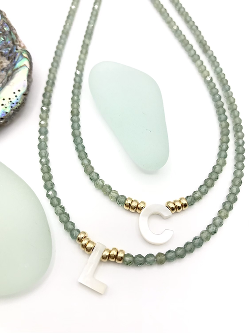 Green Apatite Initial Necklace