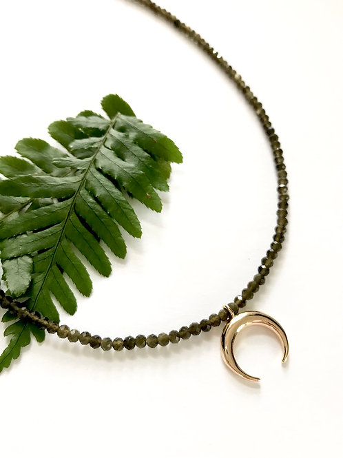 Gold Obsidian Crescent Necklace