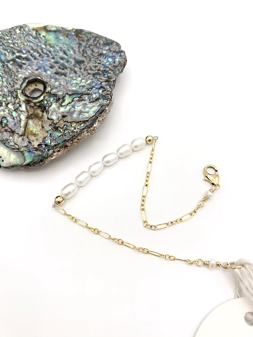 Rice Pearl Half Moon Bracelet
