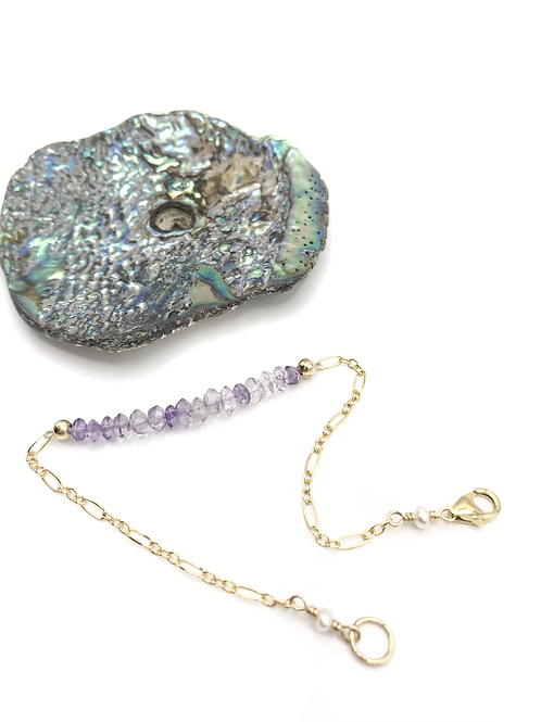 Amethyst Half Moon Bracelet