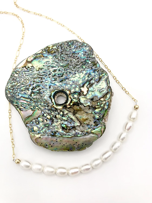Rice Pearl Half Moon Necklace