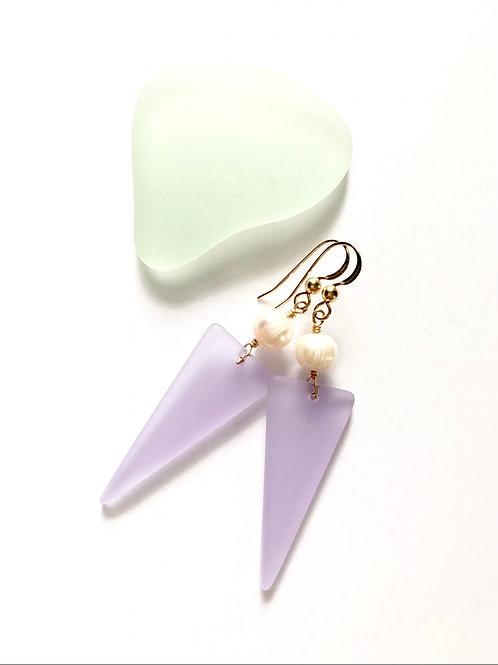 Lavender Seaglass Dangles
