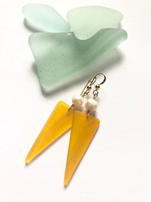 Mustard Seaglass Shield Dangles