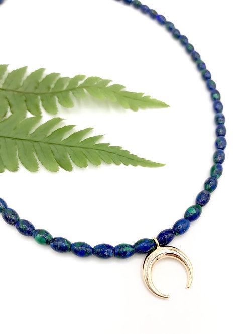 Azurite Crescent Necklace