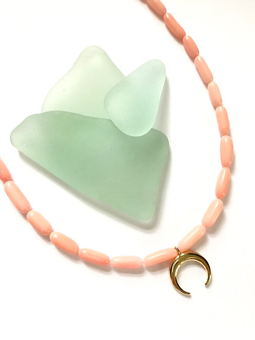 Pink Coral Crescent Necklace