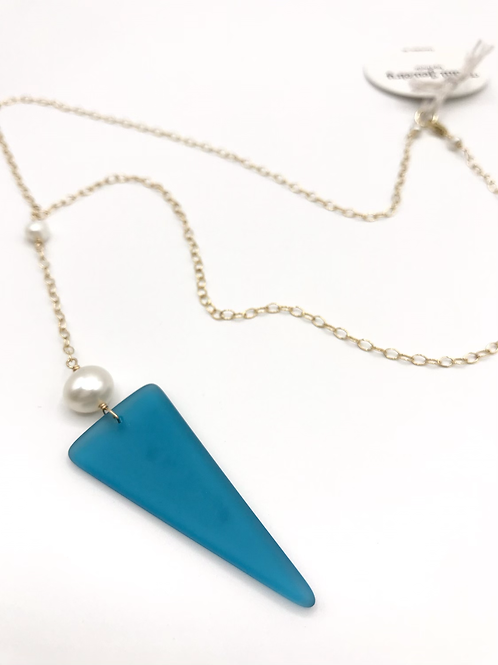 Teal Seaglass Shield Lariat