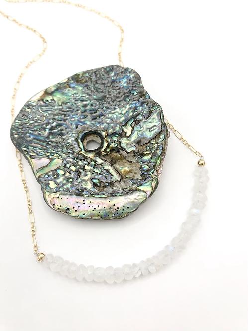 Rainbow Moonstone Half Moon Necklace
