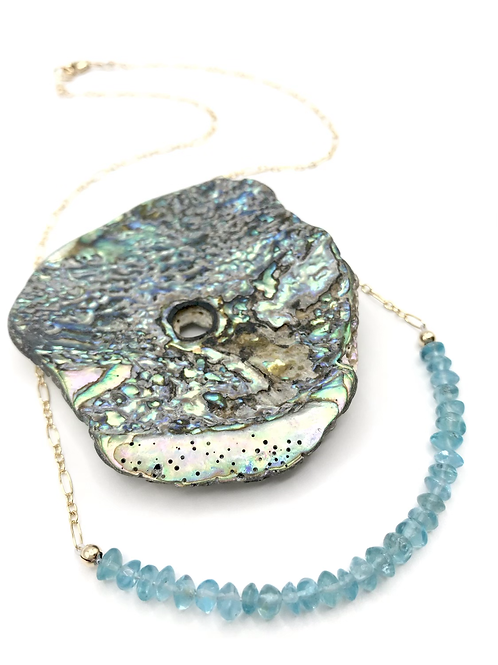 Aqua Apatite Half Moon Necklace