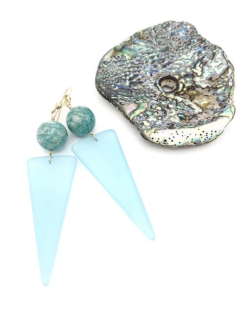Maxi Sky Blue Monochrome Seaglass Dangles