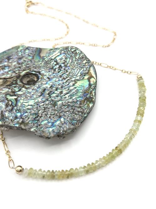 Grossular Garnet Half Moon Necklace